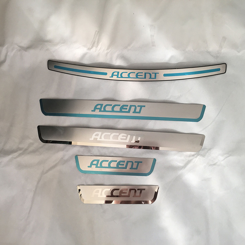 for Hyundai Accent Sedan 2012 2013 2015 Door Sill Strip Welcome Pedal And Rearguards Car Styling Sticker Auto Accessories 5pcs for suzuki sx4 s cross 2013 2015 2016 2017 stainless door sill strip welcome pedal auto car styling stickers accessories 4 pcs