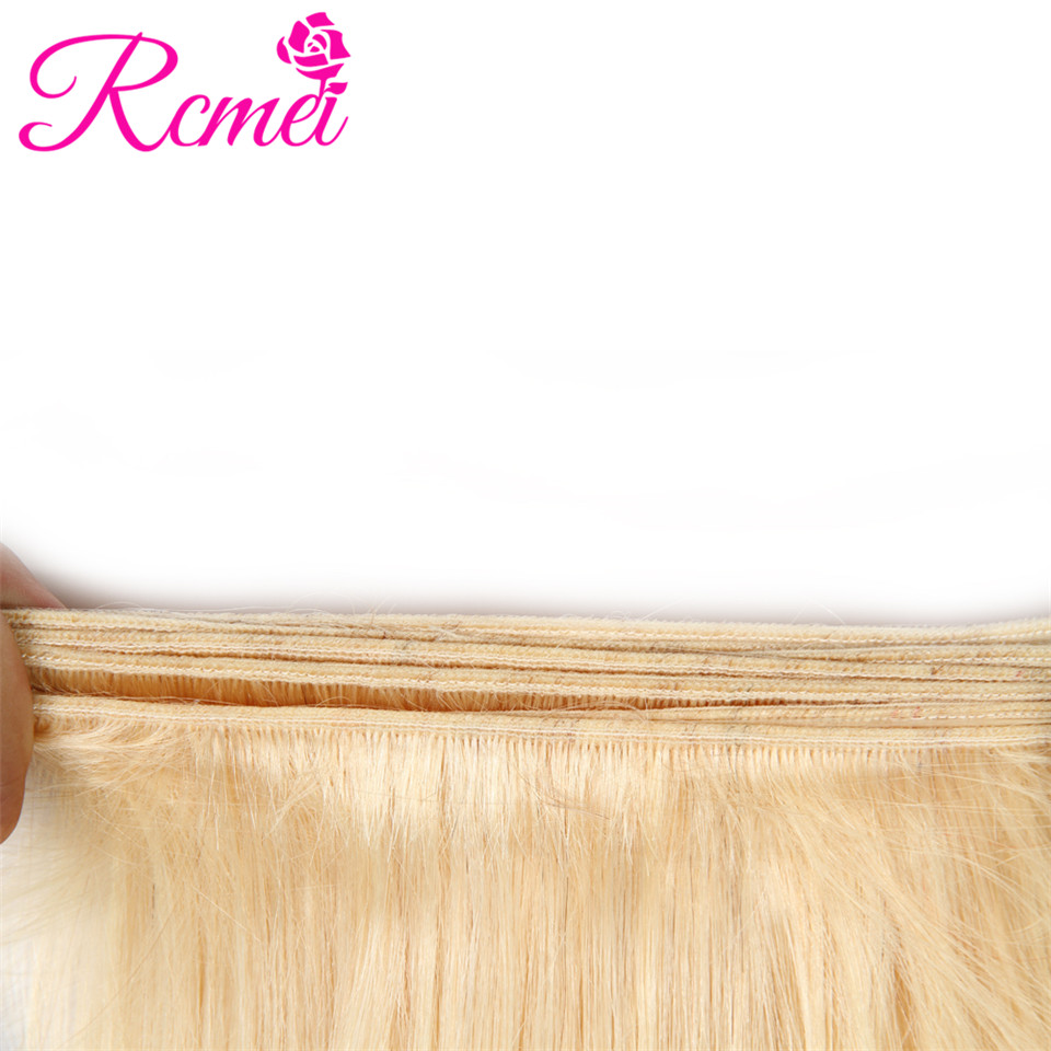 Rcmei 613 Blonde Hair Weaving Brazilian Straigth Hair 3 Bundle Deal Pre-Colored Hair Weave 10-30 Inch Long length Remy Hair Weft