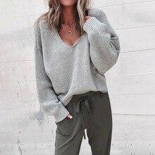 дешево!  Женская мода Sexy глубокий V-образным вырезом с длинными рукавами сплошной цвет свитера Новые свобод