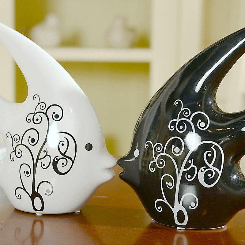 Juin Kai moderne cadeau de mariage idées et pratique salon décoratif en céramique artisanat d'ameublement poterie ornements poissons