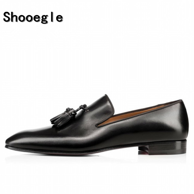 SHOOEGLE Men Fashion Handmade Tassel Loafers Shoes Slip on Gentleman Luxury Suede Casual Shoes Men Dress Business Party Shoes fashion design new hot men flat gentleman shoes luxury suede tassel loafers slip on business dress shoes party wedding shoes man