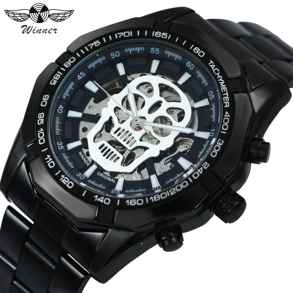 Ganador Steampunk cráneo Auto hombres reloj mecánico negro correa de acero inoxidable esqueleto Dial moda diseño fresco Relojes