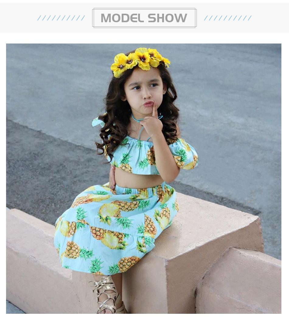 HTB1YHNofiqAXuNjy1Xdq6yYcVXah - 2 PCS/Set Summer Baby Girls Clothing Set Pineapple Print Off Shoulder Top+Skirt Ruffle Girls Dress Beach Sundress Robe Fille