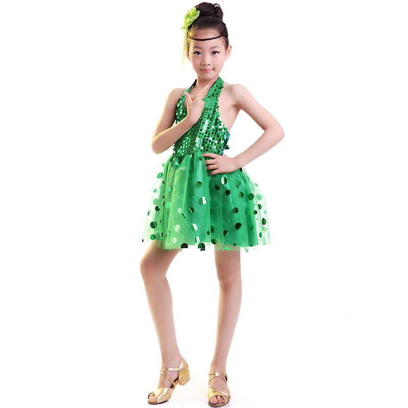 HUIHONSHE kids Green latin dance costumes  Children clothing girl dance performance, children Tutu stage Latest skirt Tulle