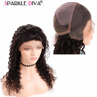 Sparkle Diva Malaysian Remy Human Hair Full Lace Wig Pre Plunk With Hair Line Glueless Deep Wave Human Hair Wig Shipping Free