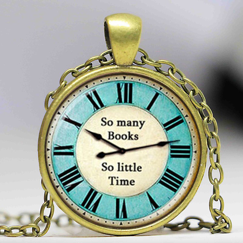 New Trendy So Many Books Little Times Letter Necklace Clock Jewelry Silver Bronze Chain Glass Cabochon Pendants Necklaces HZ1