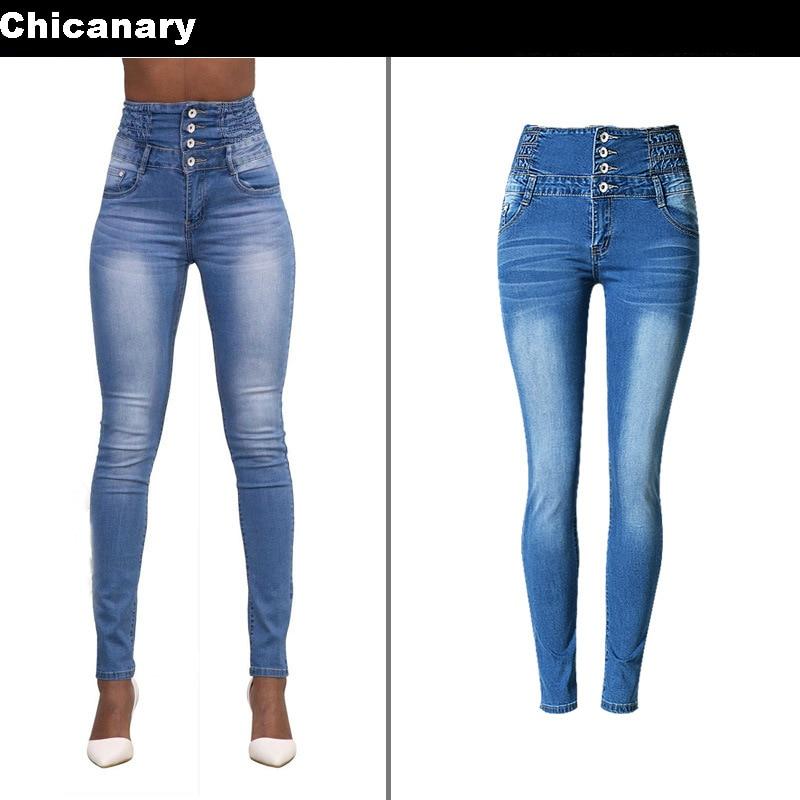 Chicanary Womens High Waist Elastic Skinny Denim Long Pencil Pants Plus Size Woman Jeans Camisa Feminina