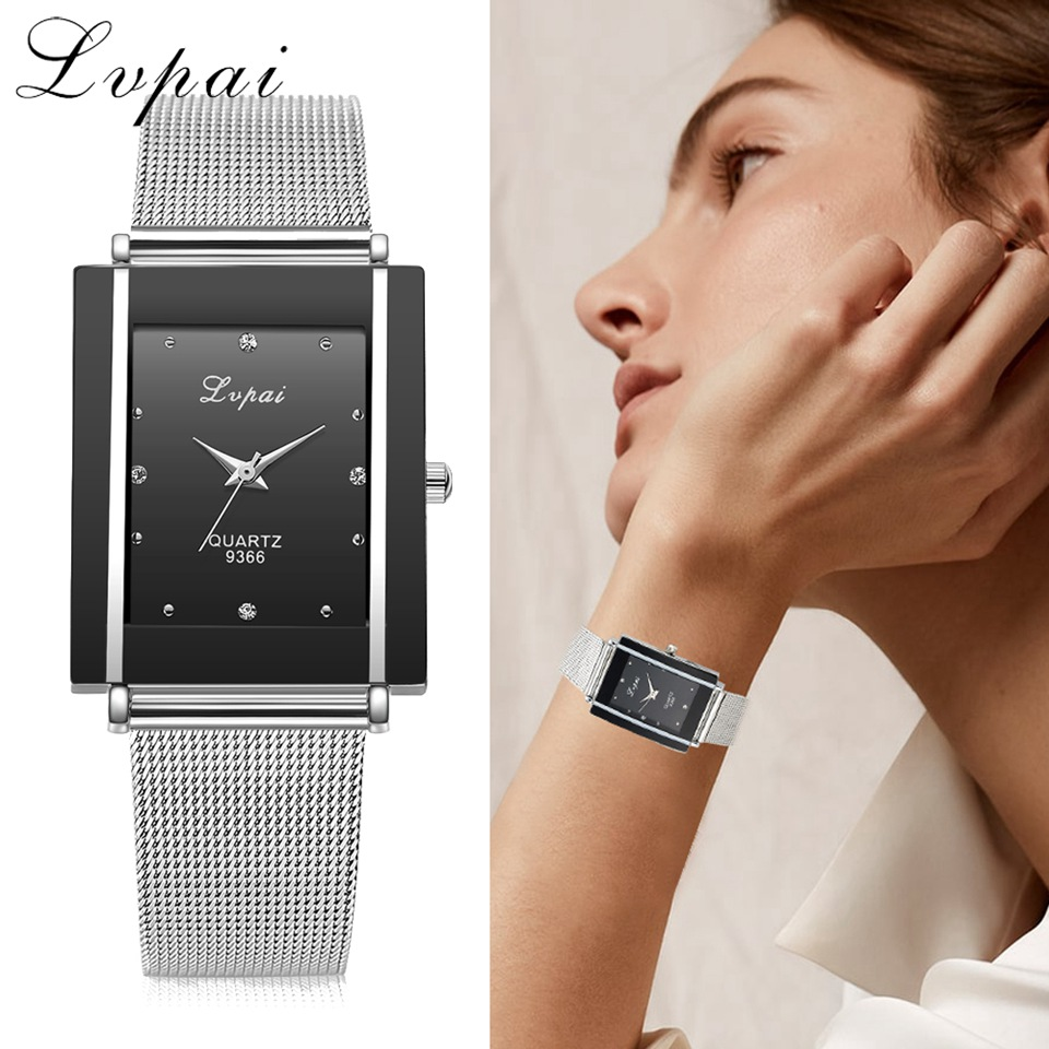 Women Bracelet Watch Silver Square Luxury Crystal Alloy WristWatches Lvpai Brand Women Fashion Men Watch Quartz Dropshiping