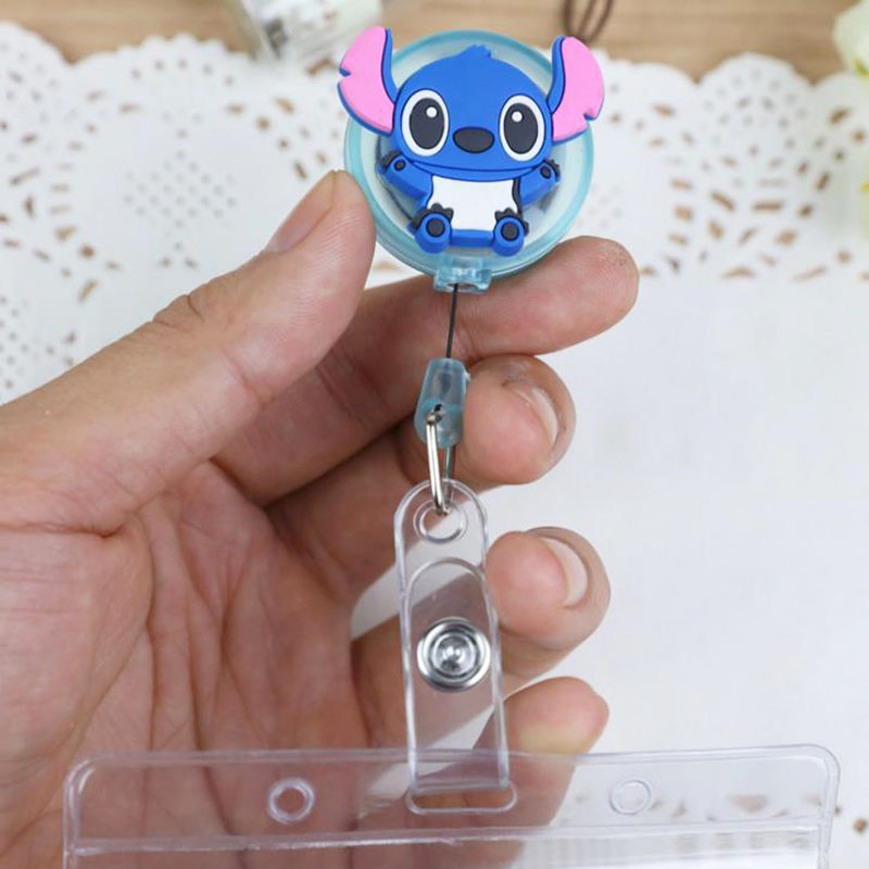 1 Pcs Cartoon Stitch Baymax Colorful Retractable Pull Badge Reel ID Lanyard Name Tag Card Badge Holder Reels For KIDS