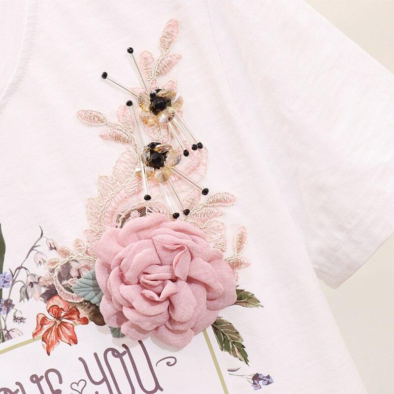 Rosa colore Branello Pezzi Harlan Due Fiore A Dei T Set Stampa Manica Corta il Vita Di 2019 Femminile estate Nero Del White Nuovo shirt Primavera Studenti Libera Jeans wcqp1F