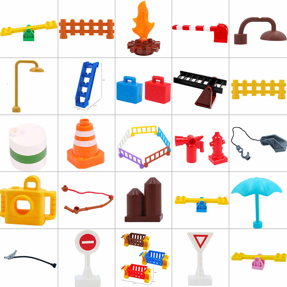 legoing duploed Large particles big building blocks accessories Stair slide Street light seesaw Bricks toys for children kids
