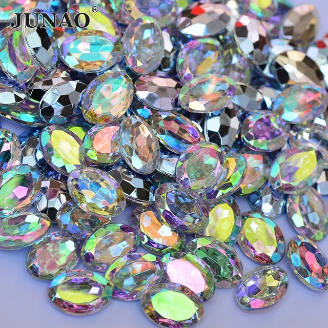 JUNAO 10 14mm Crystal AB Oval Rhinestones Applique Pointback Acrylic Stones  Glue On Strass Crystal Scrapbook Beads For Crafts 458d4ef183c4