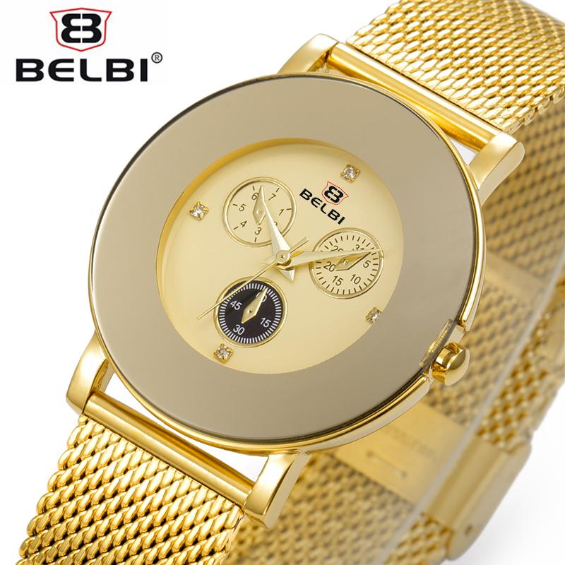 Prix pour BELBI Nouveau Élégante Montre De Mode Femmes D'or En Acier Inoxydable Maille Bracelet Simulation Trois Yeux Dial Casual Quartz Montre-Bracelet