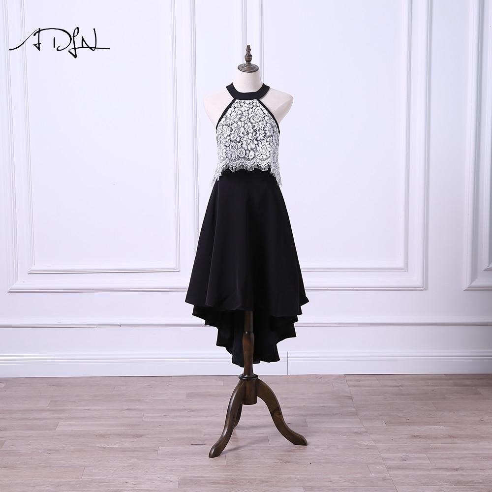 ADLN Black And White High Low Party Dress Halter Lace Cocktail Dress Short Front Long Back Formal Gown 2019 Vestidos De Festa