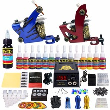 цены Stigma 2018 New Full Tattoo Kit Starter Tattoo Machine 2 Pro Coil Guns 14 Inks Power Supply Grips Tips Tubes Power Supply TK210