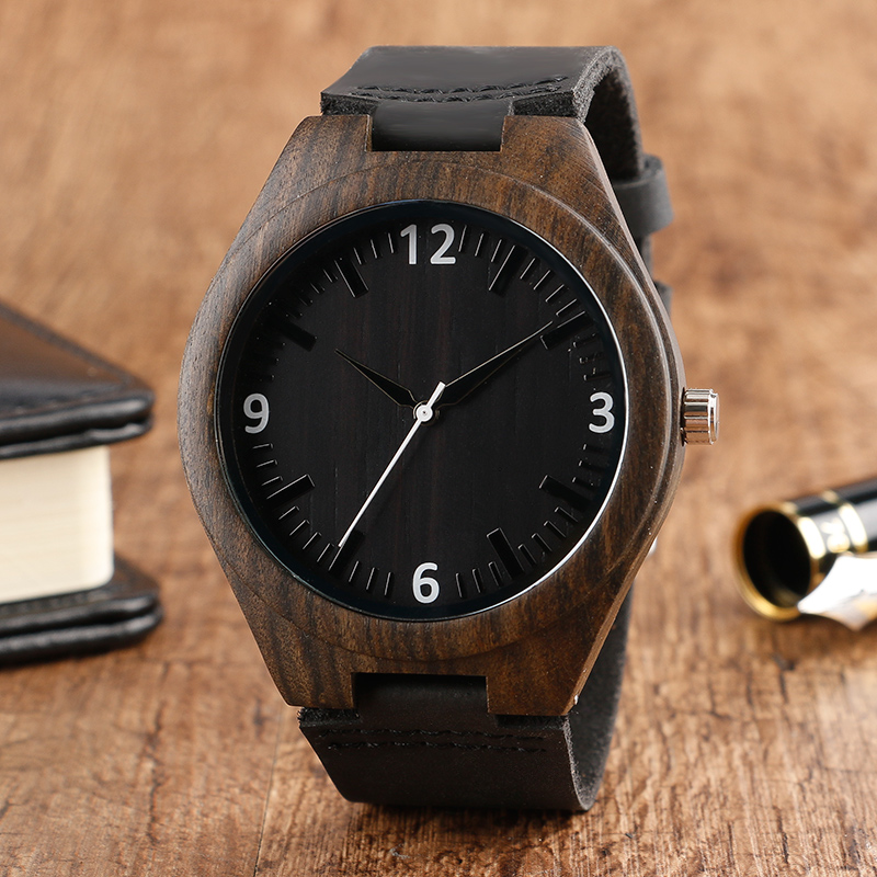 Mens Creative Wood Watch Black Face Nature Wood Male Bamboo Novel Genuine Leather Band Strap relogio de madeira
