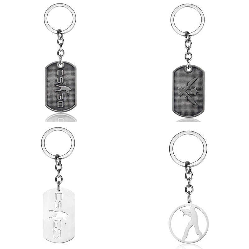 FPS Game CSGO Metal Dog Tags Keychain Counter Strike CS GO Car Key Holder Chain Pendants Keyrings Jewelry Graduation Gift