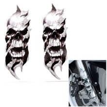 For Harley Davidson Sportster Softail Dyna Electra Glide FORK SKULLS Decals Accessory 7x21.5cm