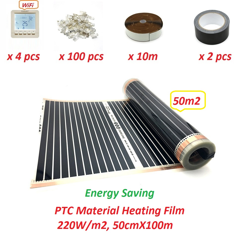 50m2 Infared PTC Underfloor Heating Film 220w/m2 50cmX100m Floor Warming Mat Energy Saving