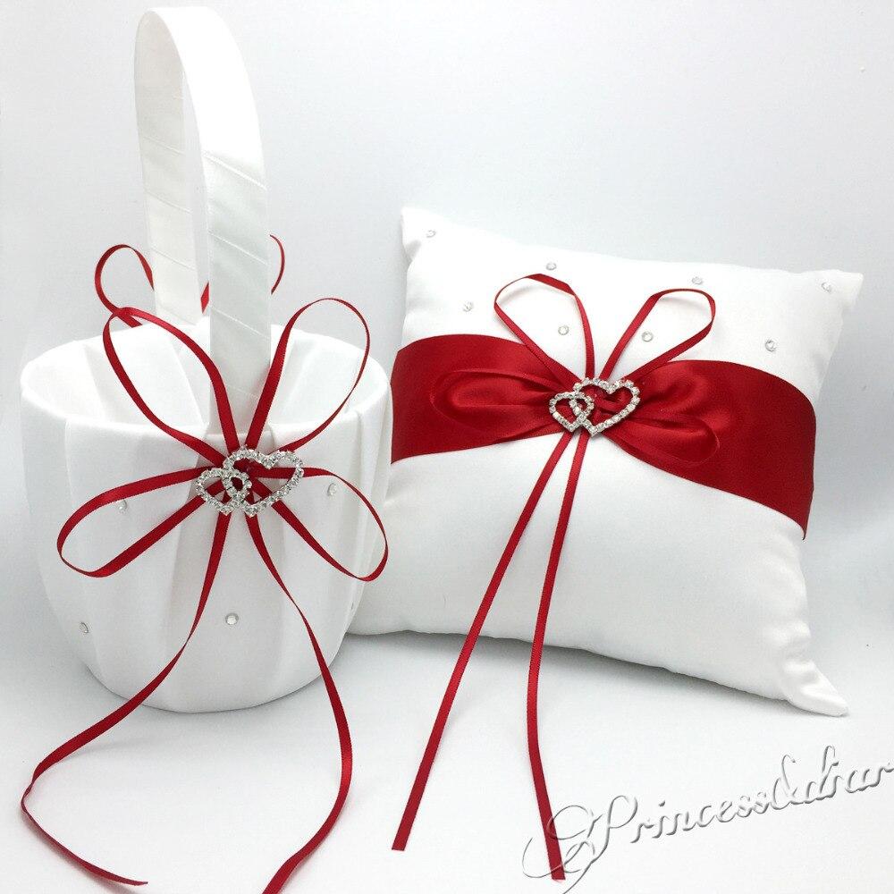 OurDecor 4 pièces/ensemble rouge décoration de mariage nuptiale Satin anneau oreiller + panier de fleurs + livre d'or + ensemble de stylos fournitures de produits de mariage - 4