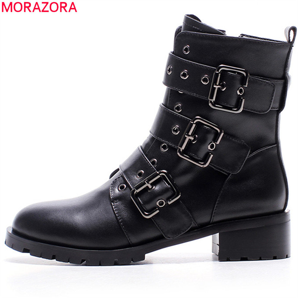 Фотография MORAZORA black fashion women boots round toe  zipper ladies genuine leather boots square heel ankle boots buckle classic