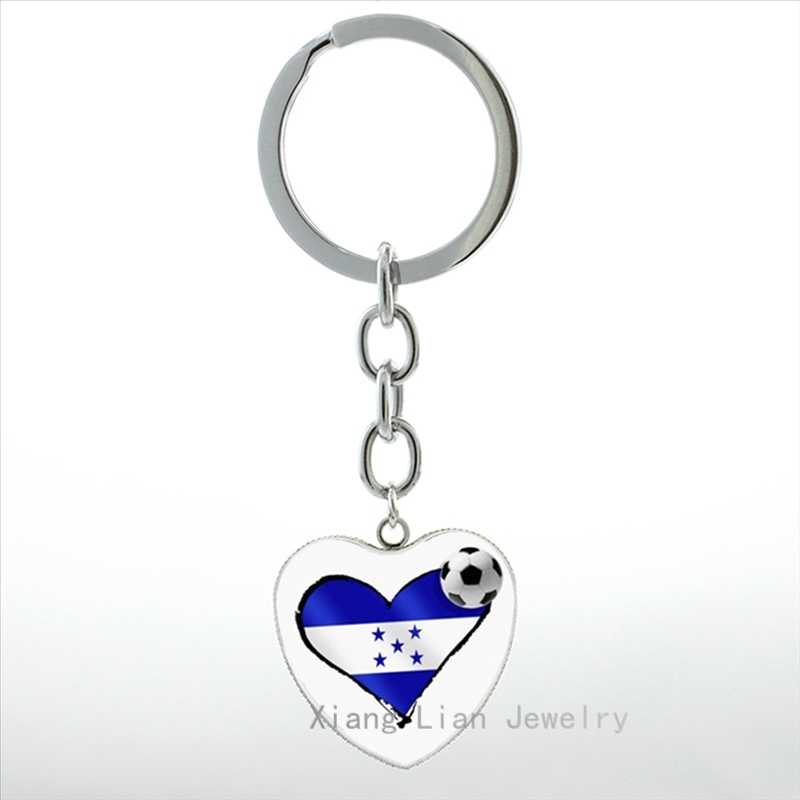 EU amo a Bola De Futebol honduras bandeira coração chaveiro pingente anel homens mulheres jóias da moda grã-bretanha bandeira chaveiro futebol HP300