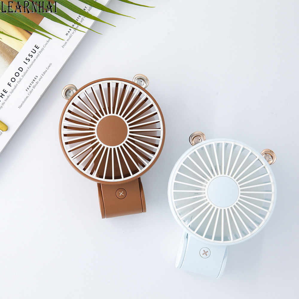 Hand-held Fan Large Capacity and Long Battery Life USB Portable Rechargeable Fan Three Color Options can be Clipped Student Dormitory Small Electric Stroller Fan LMMNFS Bear Mini Fan