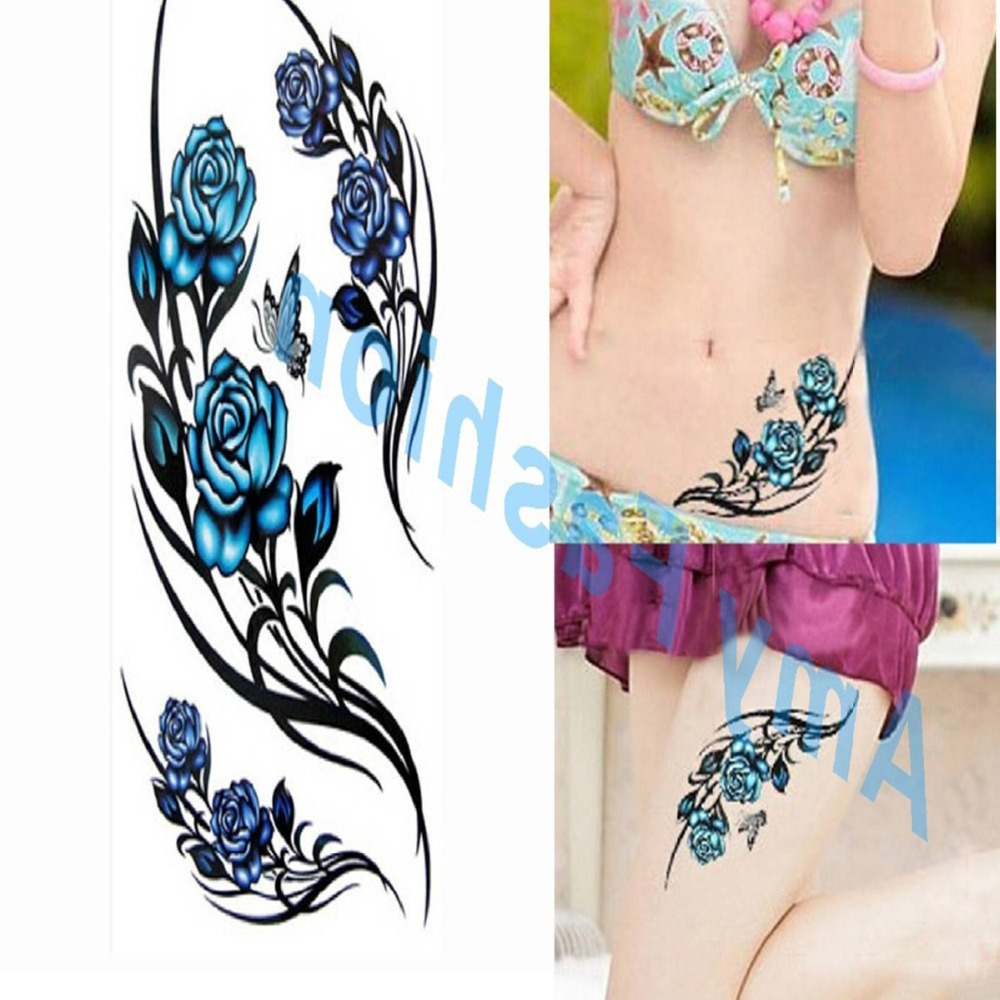 1pcs Small Blue Rose Tattoo Sexy Cool Beauty Tattoo Body Art
