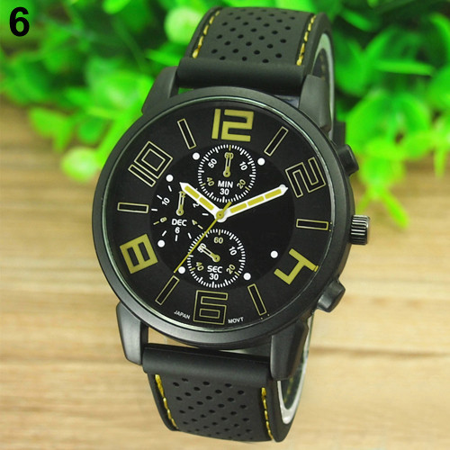 17 Men's Casual Sports Stainless Steel Silicone Band Quartz Analog Wrist Watch Fashion Style Water Proof 9