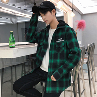 Spring And Autumn Youth Long Sleeved Shirt Male Korean Vogue High School Students Hooded Plaid Casual