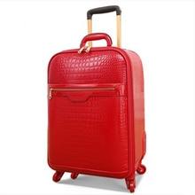 Nueva maleta con ruedas de cuero genuino de vaca de alta calidad Vintage de 20 y 24 pulgadas para mujer, Maleta de viaje con ruedas