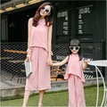 summer mother and daughter clothes set 2 pieces top+pants fashion family matching clothing sets outfit mom me