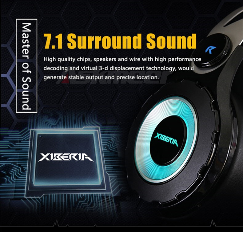XIBERIA T18 Stereo Gaming Headphones with Microphone 7.1 Surround Sound Deep Bass Gamer Headset for Computer Best casque (2)