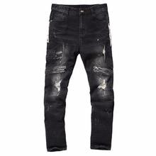 2017 Autumn Winter Europe Punk Style Slim Jeans Men Fashion Black Hole Jeans Male Street Dark