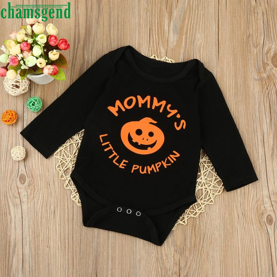 CHAMSGEND Fashion Daily Black Infant Baby Boys Girls Halloween Pumpkin Animal O-Neck Long Sleeve Romper Jumpsuit Clothes ag3 P30