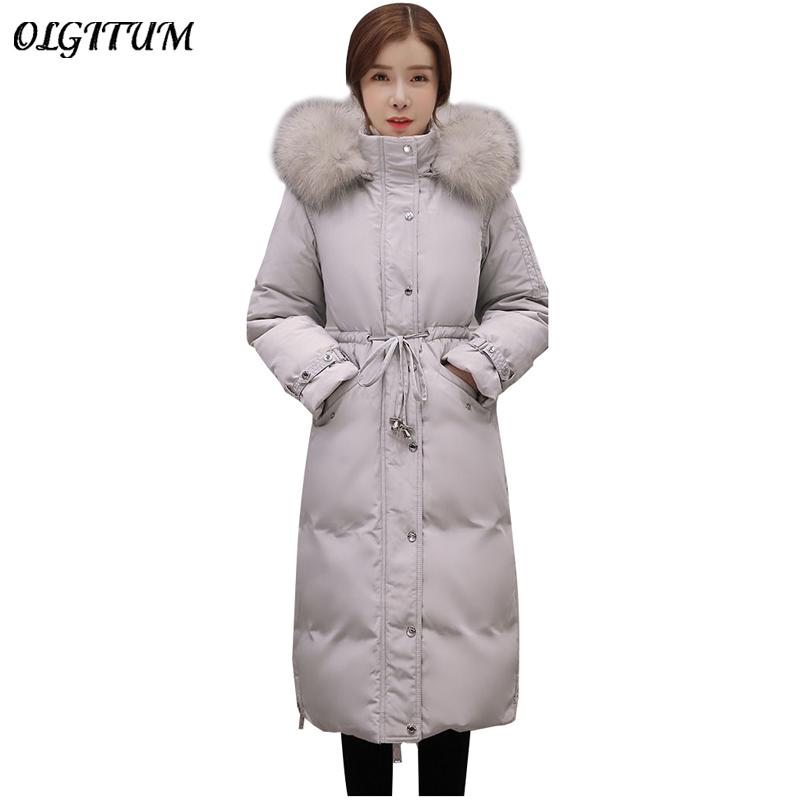 HOT!2018 Women's Winter Slim Jackets New Long Down & Parkas Real Large REAL Raccoon Fur Collar Coat Jacket for Female Casaco Jaq fashion children winter coat long down jacket for girl long parkas kids hooded color raccoon fur collar coat zipper outerwear