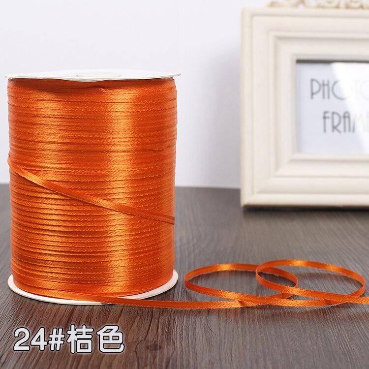 3 мм ширина бордовые атласные ленты 22 метра швейная ткань подарочная упаковка «сделай сам» ленты для свадебного украшения - Цвет: Orange