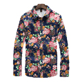 Leisure shirt for Men Floral Printed Large Size Cotton Fit Non-ironing Fashion Shirt Turn-Down Collar Casual Shirt Gent Life