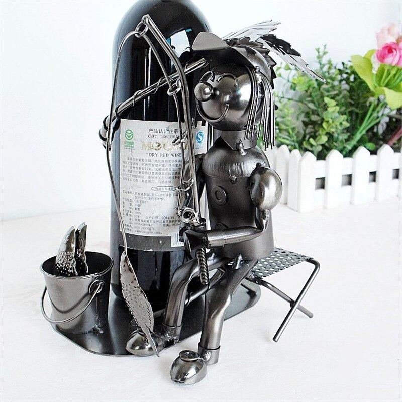 Casier à vin de pêcheur présentoir fer artisanat maison Design intérieur bouteille de vin à la main L3114