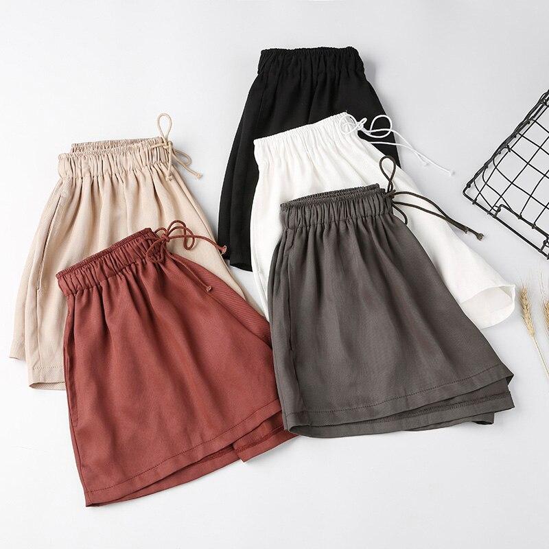 New Women   Shorts   Spring Summer Elastic Waist   Shorts   Solid Casual Loose Wide leg   Shorts   Pockets Sports   Shorts