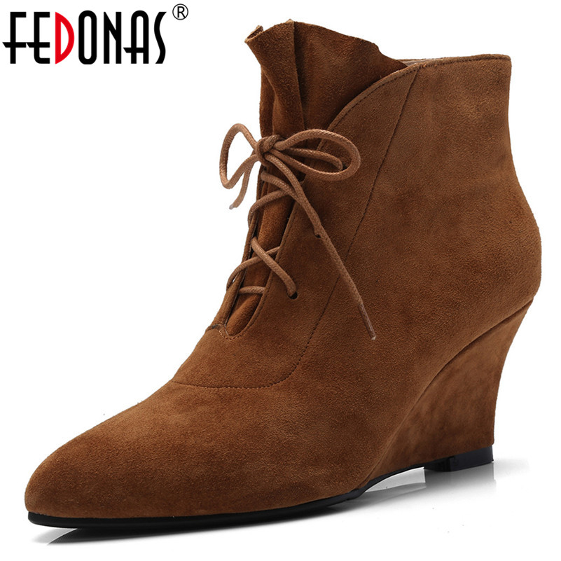 FEDONAS Retro Elegant Women Ankle Boots Wedges High Heels Lace Up Autumn Winter Martin Shoes Woman Suede Leather Party Pumps