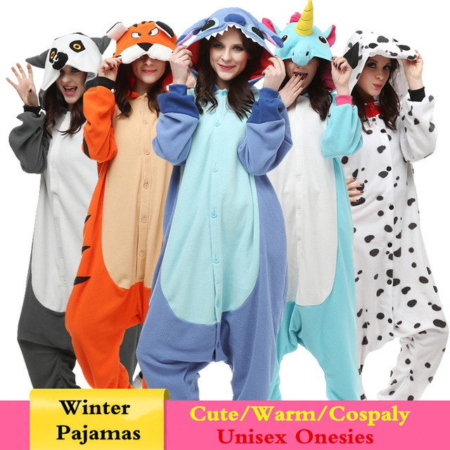 2018 New kigurumi Animal Cartoon Women Onesies Monkey Umbreon Stitch Cosplay Hooded Sleepwear Winter Unisex Fox Wolf Pajamas