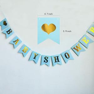 Image 4 - 1 סט ורוד כחול תינוק מקלחת קישוט הבאנר נייר זר כלי שולחן סט Genderl לחשוף BabyShower ילד ילדה ספקי צד