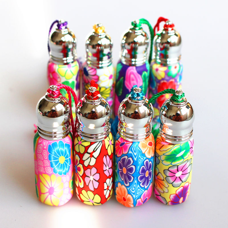 4pcs/Pack 5ml Glass Perfume Roll On Bottle With Glass Ball Polymer Clay Roller Essential Oil Bottle Many Patterns