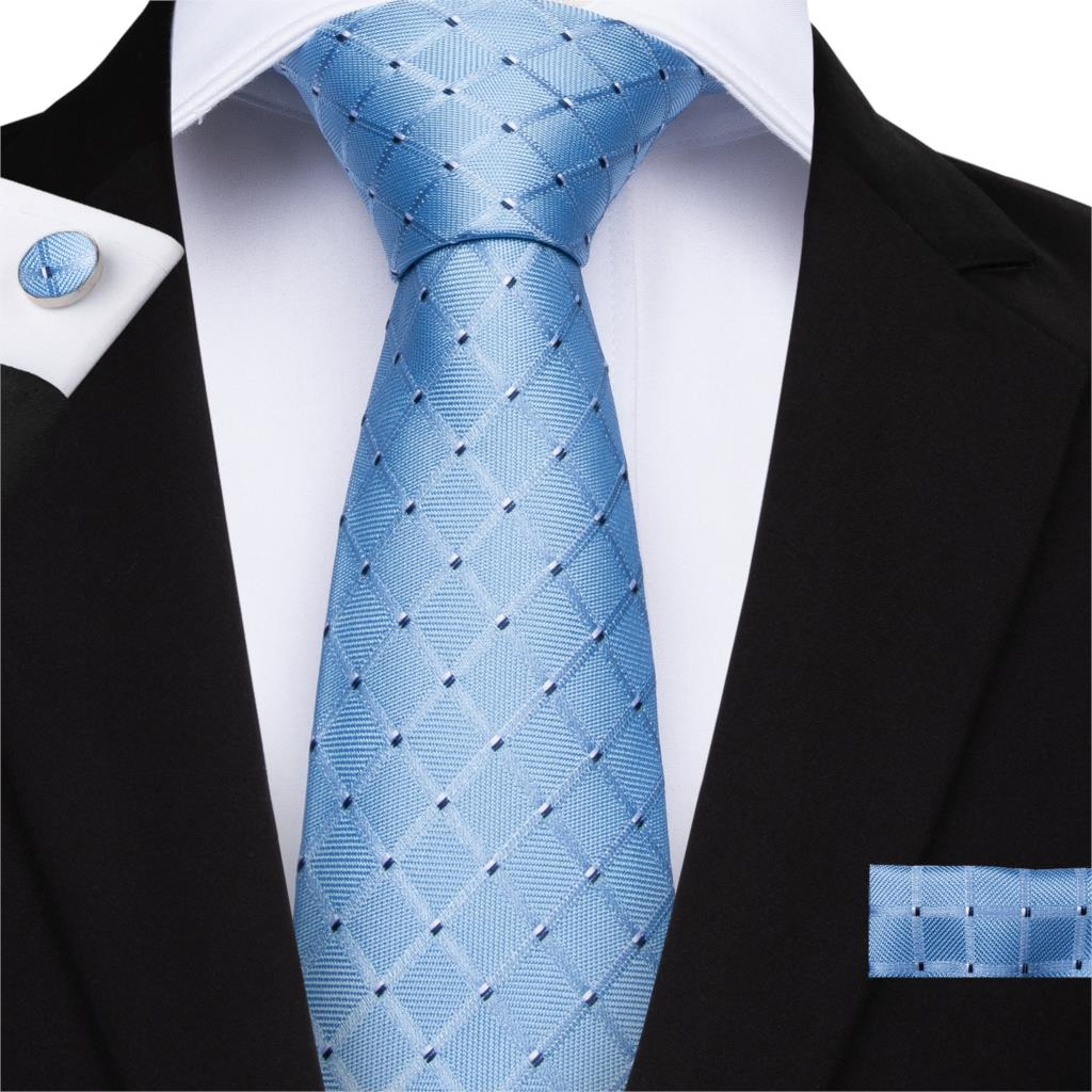 2019 DiBanGu New Blue Plaid Men's Tie 150cm Long Ties Hanky Cufflinks Tie Necktie Business Wedding Party Tie Set MJ-7130