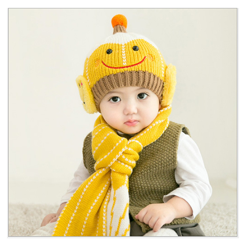 Children winter hat ear muff crochet baby hat scarf set headband smile Knitted baby caps Toddler Infant For Children Clothing