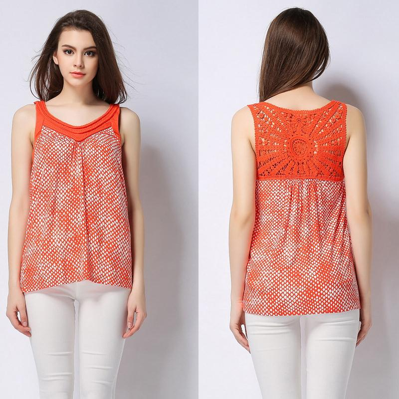 Fashion Design 2017 Women Tops Asymmetrical Shirt Crochet Hollow out Back  Twist V Neck Polka Dot Euros Style Sleeveless Y03392 in T Shirts from  Women s. Fashion Design 2017 Women Tops Asymmetrical Shirt Crochet Hollow