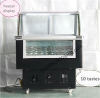 10 taste Italian Ice Cream Display Freezer Mini Ice Cream Display Freezer display cabinet hard ice cream showcase