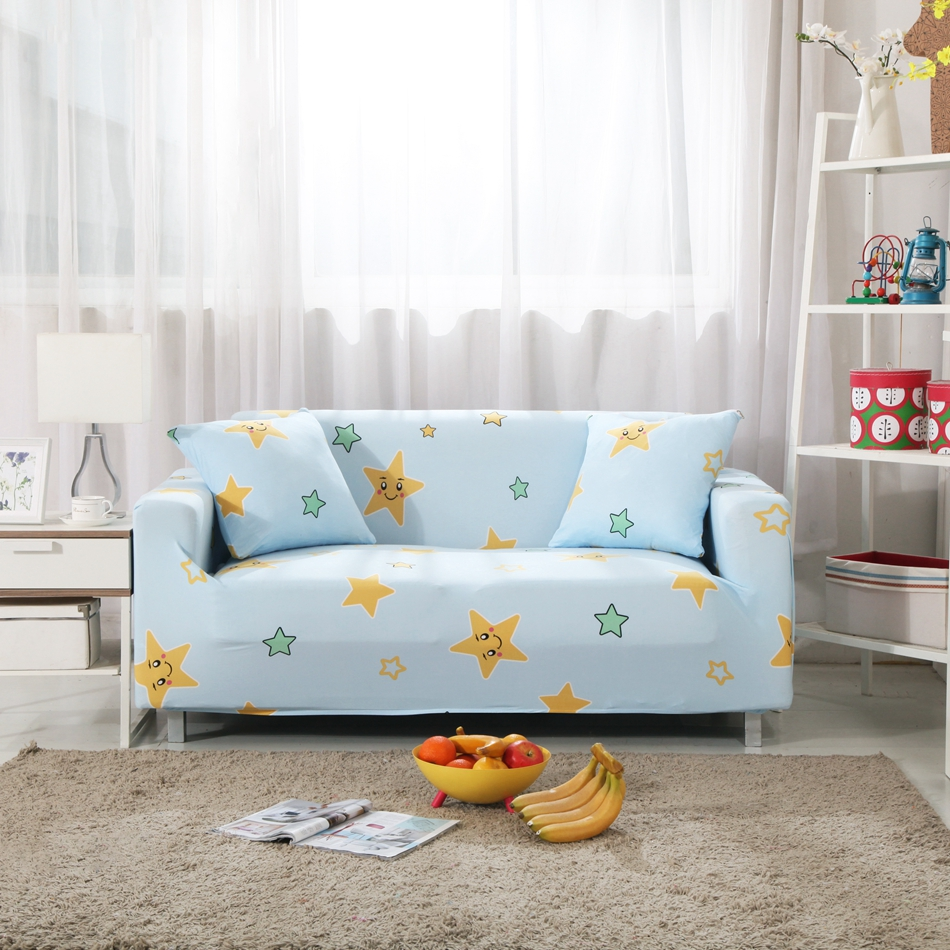 Living Room Sofa Cover Light Blue Cute Stars Printed Slipcover with ...