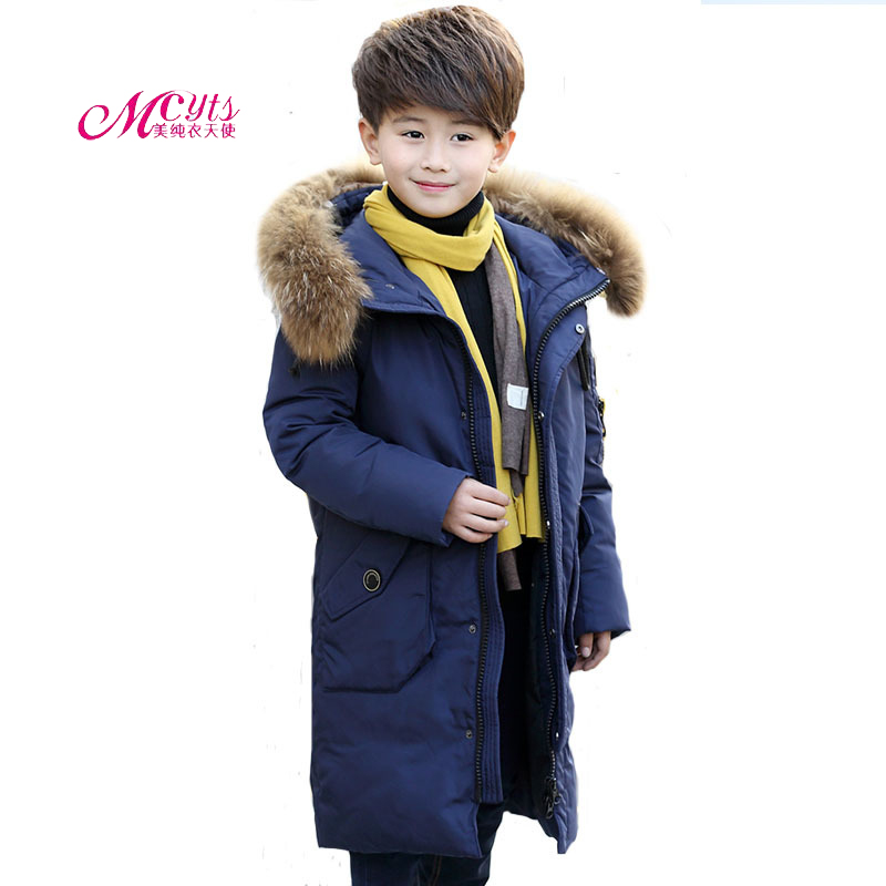 -30degree Children Winter Duck Down Jacket / Coat Long Thick Casual Fashion Boys Warm Hooded Outerwear 5 7 8 9 10 11 12 13 Years 2016 winter children warm thick snow proof coat baby boys white duck down jacket vest kids casual long style outerwear parkas